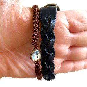 3/$8🎉 Blue leather & Brown string Christ bracelet